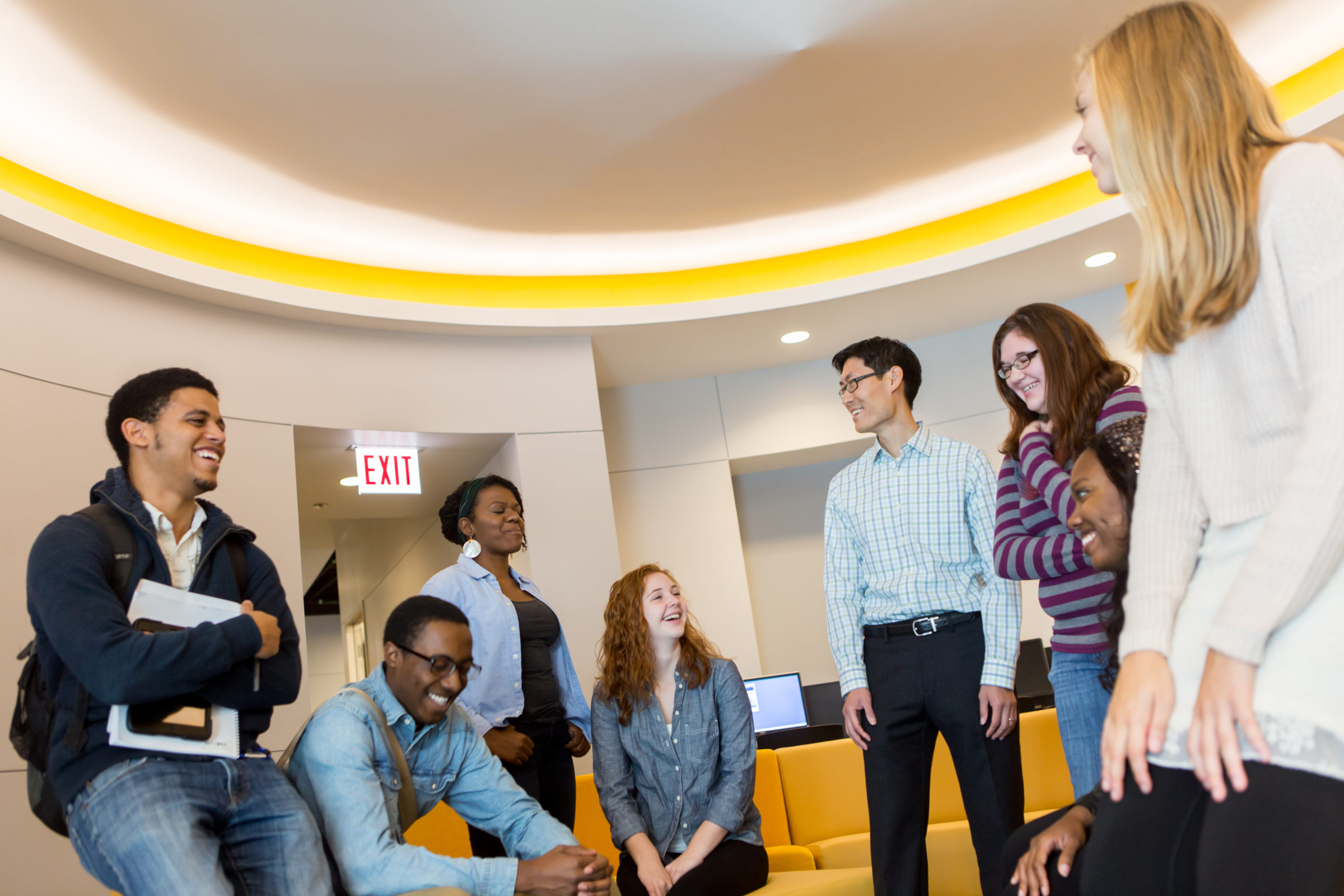 Students gathered in a circle in Center for Student Engagement