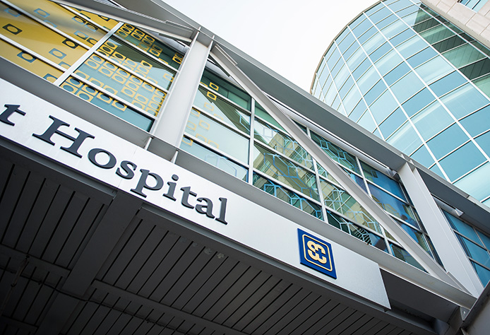 Glass walkway of Swedish Covenant Hospital
