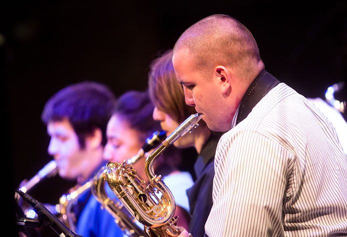 School of music concert with a focus on the saxophone players.