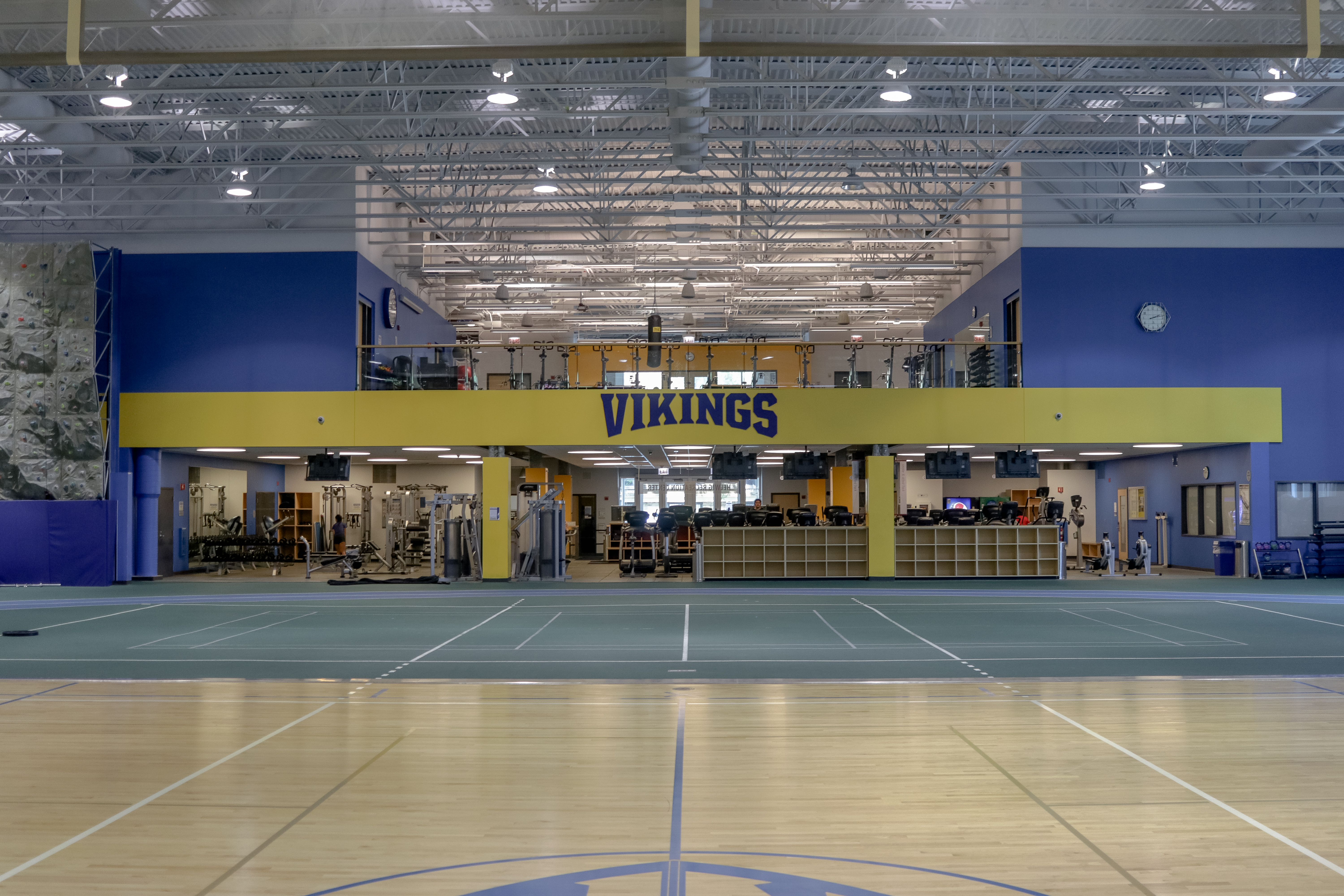 The Helwig Recreation Center boasts some of the most dynamic practice, conditioning, rehabilitation, and recreation spaces in the nation. Facilities include weight and cardio equipment, a climbing wall, track, basketball and volleyball courts, turf, and batting cages.