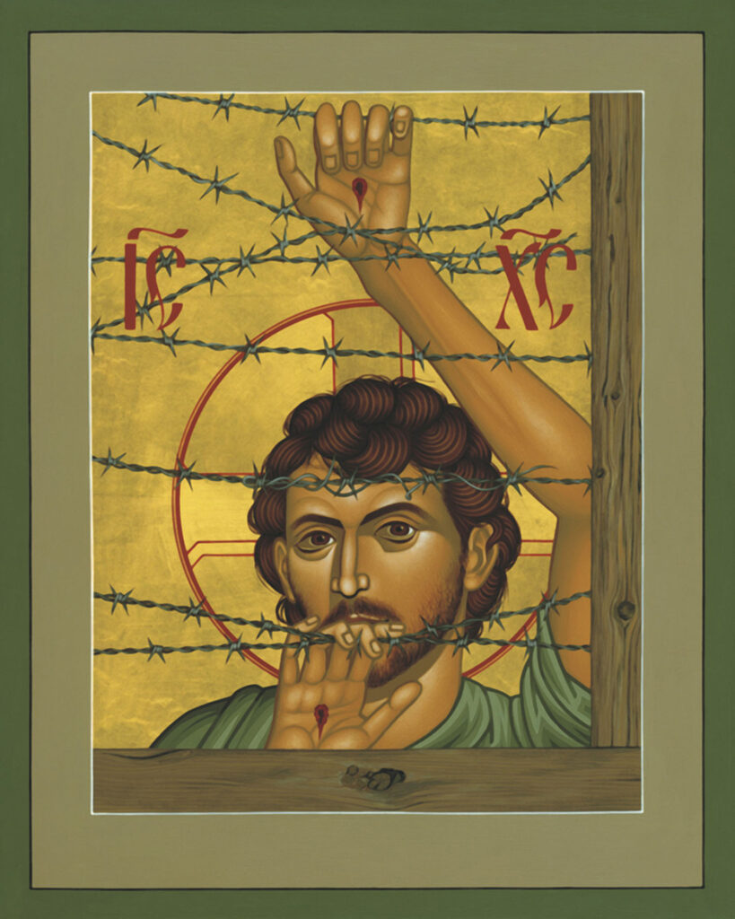 Painting of Christ looking through barbed wire fence