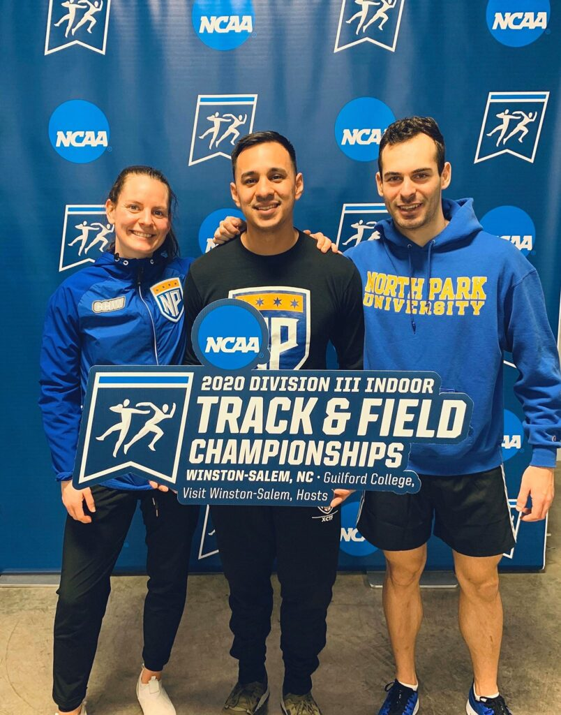 "Three athletes hold sign ""2020 Division III Indoor, Track & Field Championships, Winston-Salem, NC, Guilford College, Visit, Winston-Salem Hosts"""