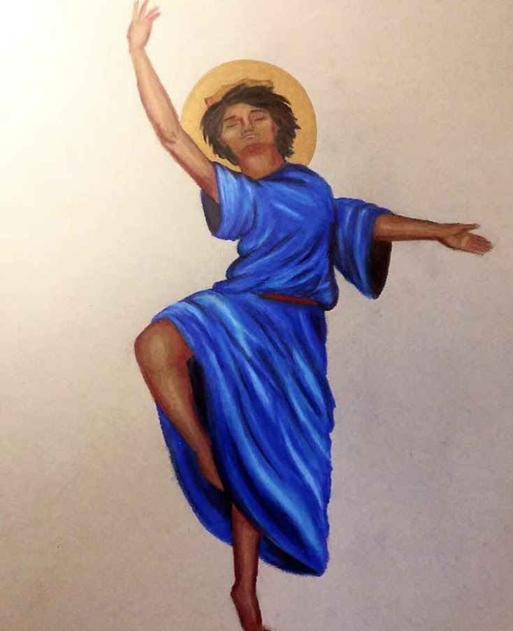 painted image of haloed man in blue robe dancing